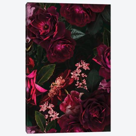Vintage Midnight Summer Botanical Roses Garden Canvas Print #UTA224} by UtArt Canvas Print