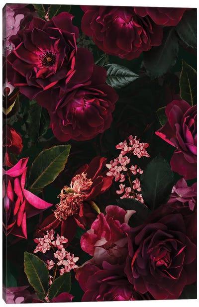 Vintage Midnight Summer Botanical Roses Garden Canvas Art Print