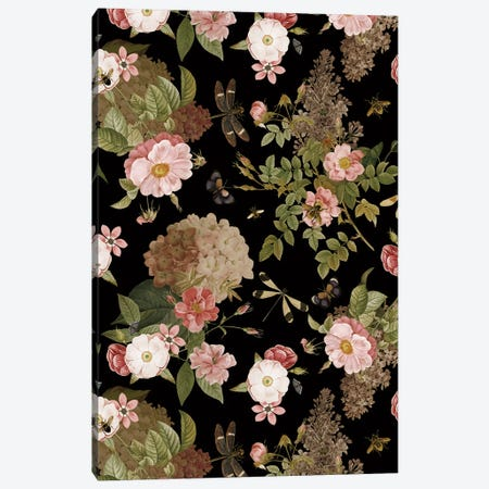 Vintage Roses And Butterflies Spring Night Garden Canvas Print #UTA227} by UtArt Canvas Art Print
