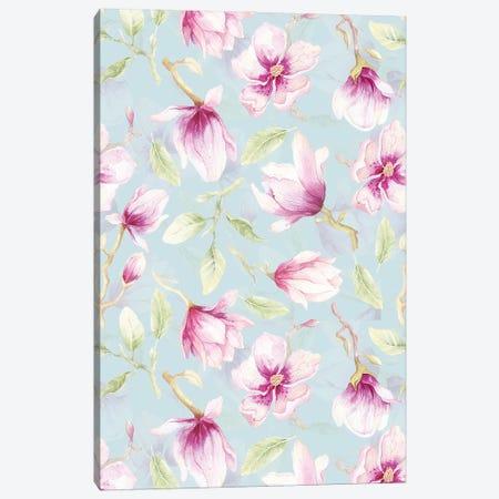 Watercolor Purple Magnolia Flowers Canvas Print #UTA233} by UtArt Canvas Art Print