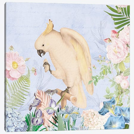 White Parrot In Flower Jungle Canvas Print #UTA236} by UtArt Canvas Artwork