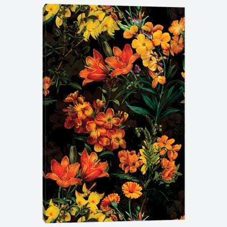 Yellow Spring Flowers Night Garden Canvas Print #UTA240} by UtArt Canvas Art