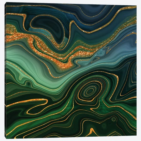Abstract Gold And Emerald Marlbled Landscape Canvas Print #UTA24} by UtArt Canvas Print