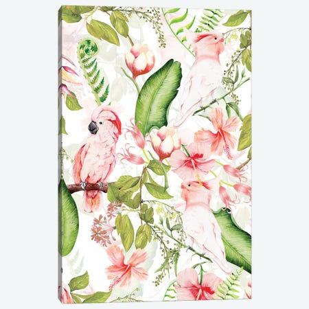Tropical Bohemian Pastel Flower And Parrot Jungle Canvas Print #UTA255} by UtArt Canvas Wall Art