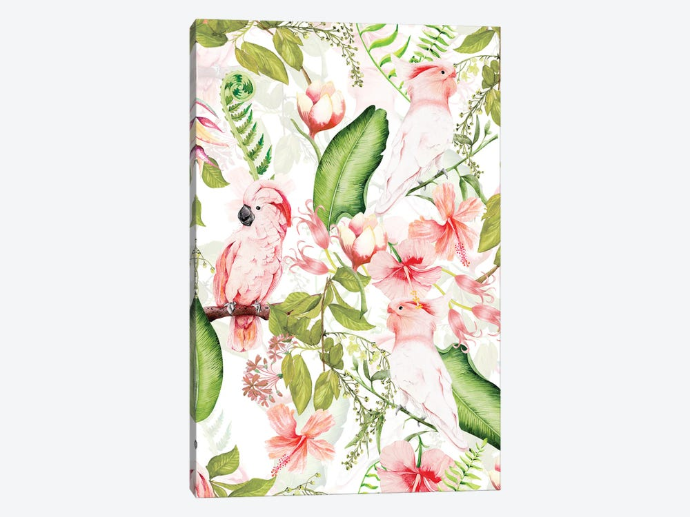 Tropical Bohemian Pastel Flower And Parrot Jungle by UtArt 1-piece Canvas Wall Art