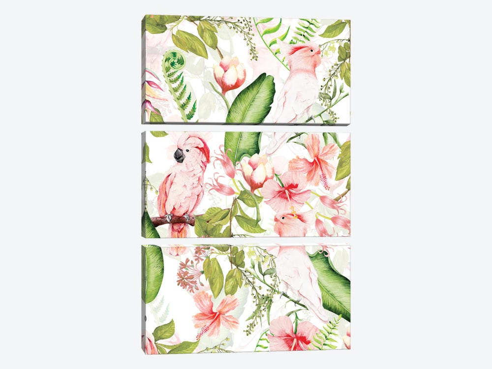 Tropical Bohemian Pastel Flower And Parrot Jungle by UtArt 3-piece Canvas Art