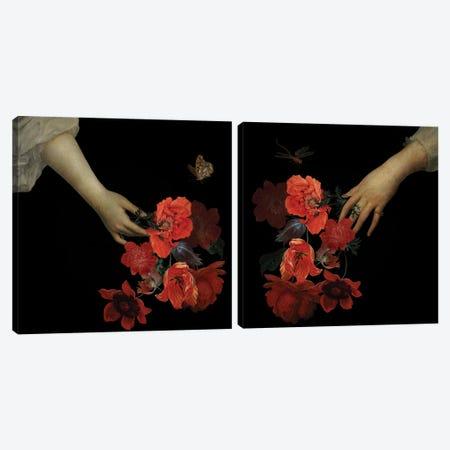 Hand With Poppy Flowers Diptych Canvas Print Set #UTA2HSET002} by UtArt Art Print