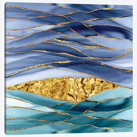 Blue Gold And Glamour Marbling Landscape Canvas Print #UTA47} by UtArt Canvas Print