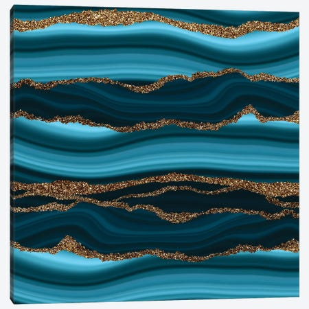 Blue Marble Slices With Gold Glitter Veins Canvas Print #UTA48} by UtArt Canvas Art