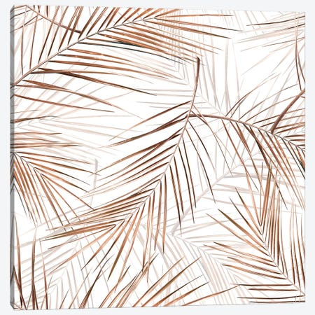 Copper Palm Leaves Canvas Print #UTA83} by UtArt Canvas Art