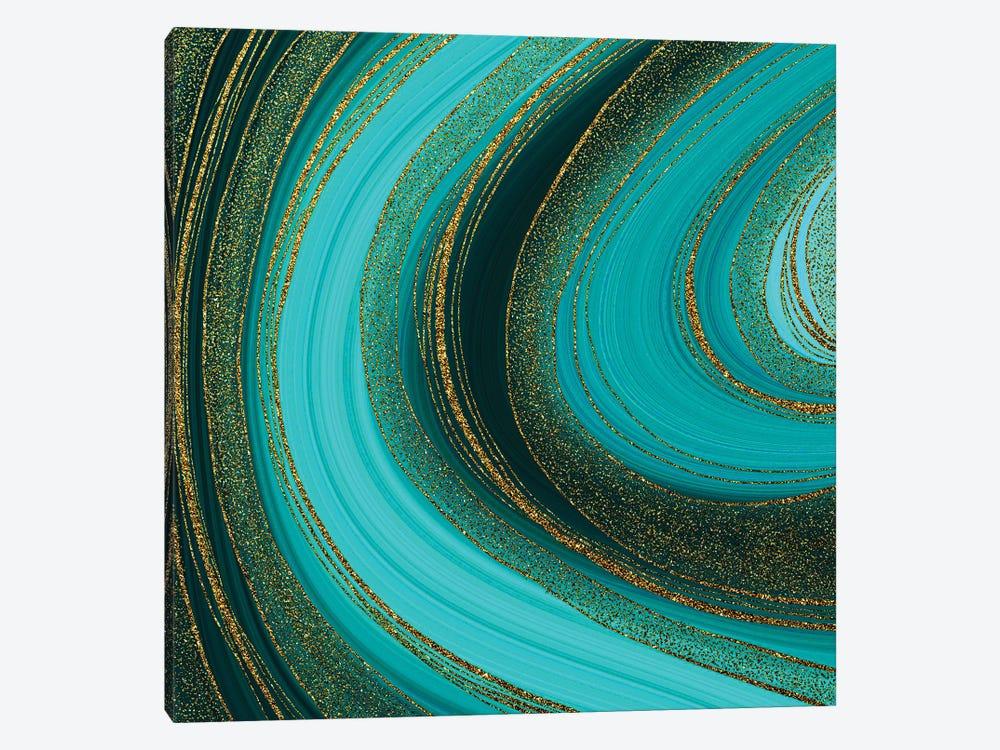 Emerald Gold Marble by UtArt 1-piece Canvas Art Print
