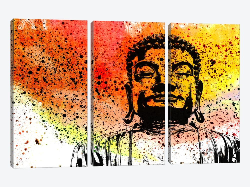 Buddha Impressions #5 by Unknown Artist 3-piece Canvas Print