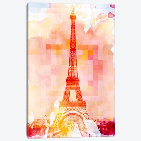 Eiffel Tower Rose Pallet Slate Canvas Print #UVP1} by Unknown Artist Canvas Art Print