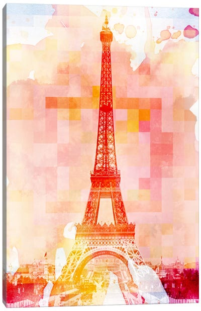 Eiffel Tower Rose Pallet Slate Canvas Art Print