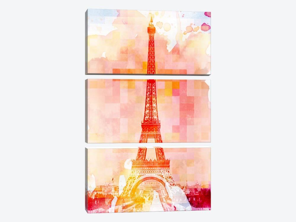 Eiffel Tower Rose Pallet Slate by iCanvas 3-piece Art Print
