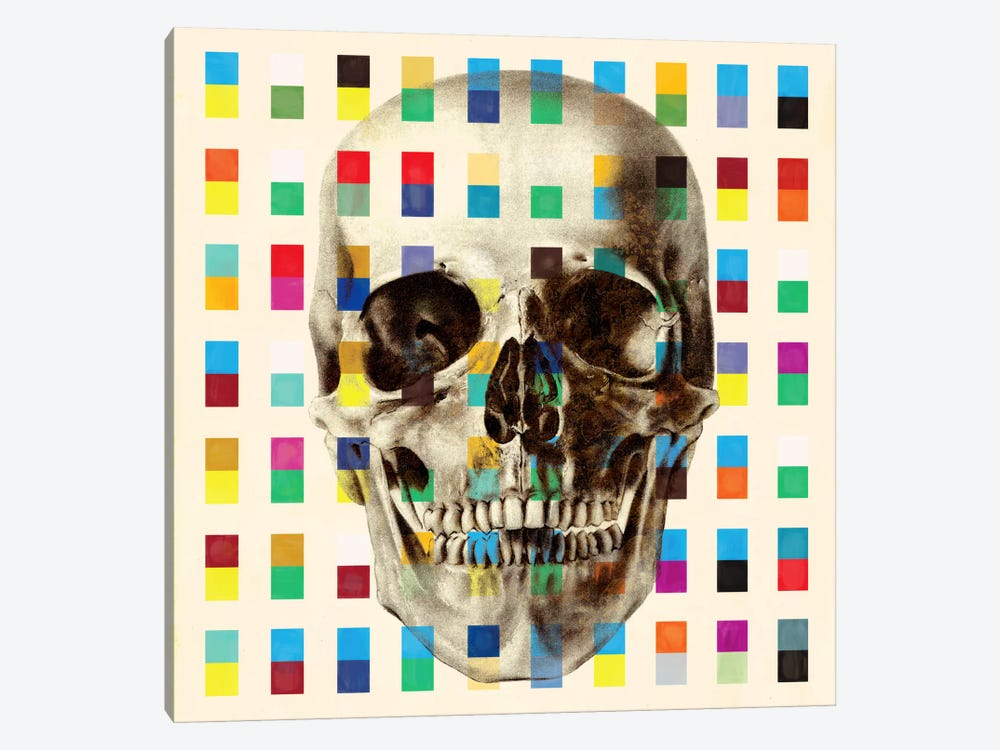 White Skull Cubes by iCanvas 1-piece Canvas Art