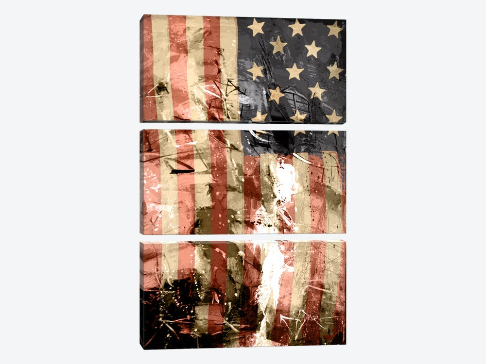 Star Spangled Grafitti by iCanvas 3-piece Canvas Wall Art