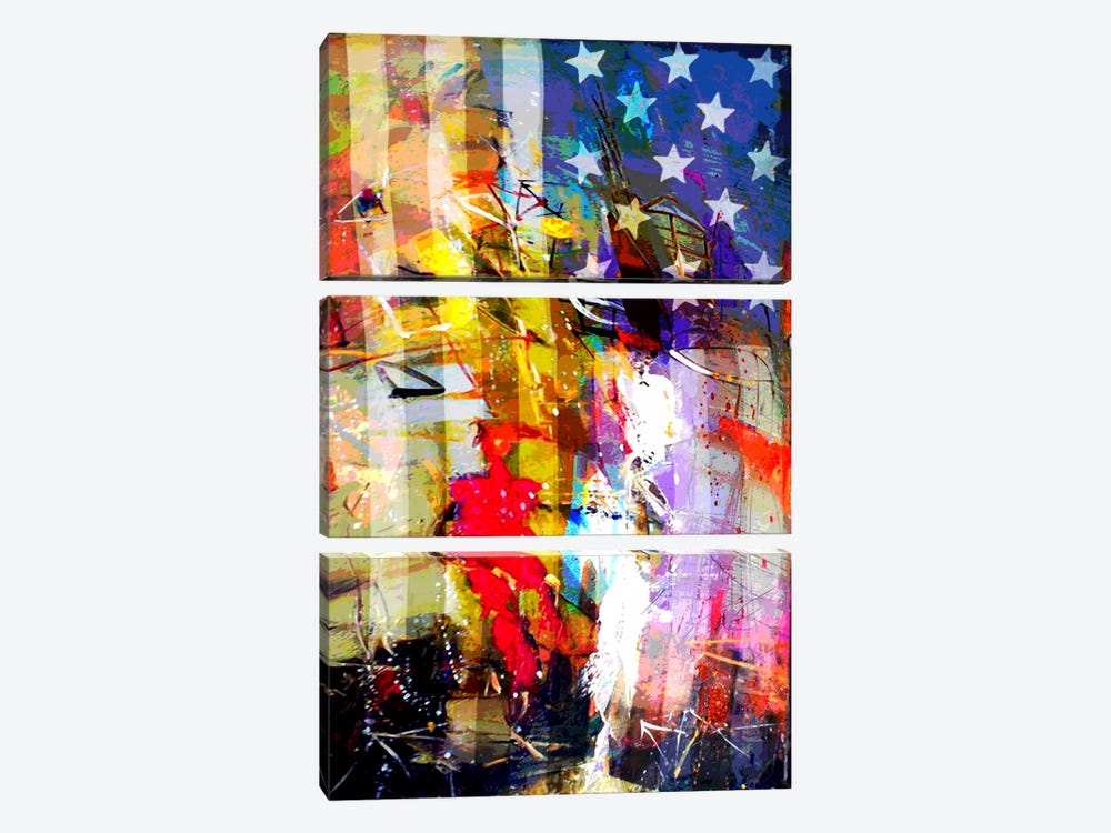 Star Spangled Grafitti #2 by iCanvas 3-piece Canvas Art