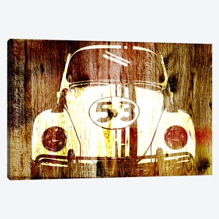 Buggy 53 Woodgrain Canvas Print #UVP62} by Unknown Artist Canvas Wall Art