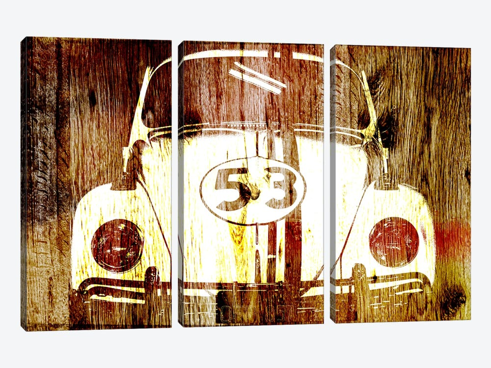 Buggy 53 Woodgrain 3-piece Canvas Wall Art
