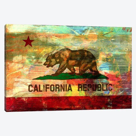 Pattern Fade California Flag Canvas Print #UVP72} by iCanvas Canvas Art Print