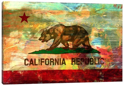 Pattern Fade California Flag Canvas Art Print