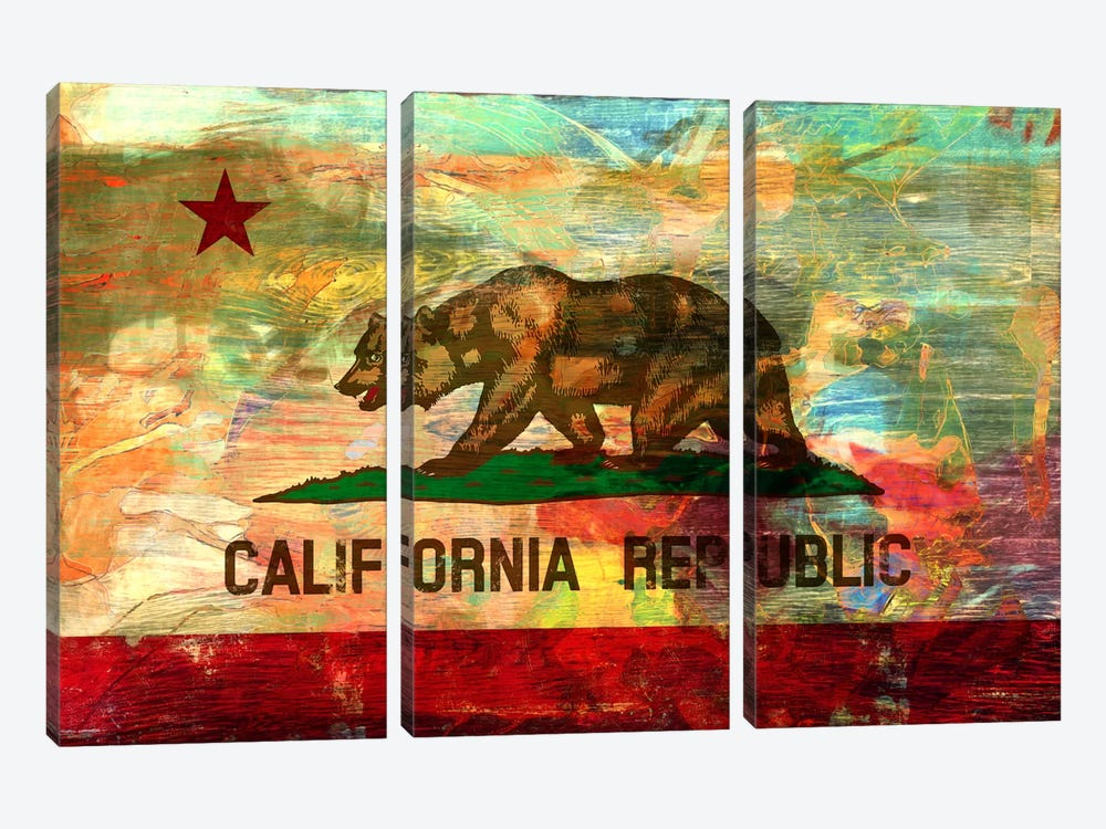 Pattern Fade California Flag by iCanvas 3-piece Canvas Print