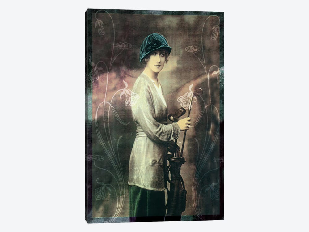 Pretty Golf Girl by Vintage Apple Collection 1-piece Canvas Artwork