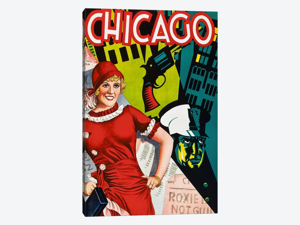 Chicago Red Dress by Vintage Apple Collection 1-piece Canvas Print