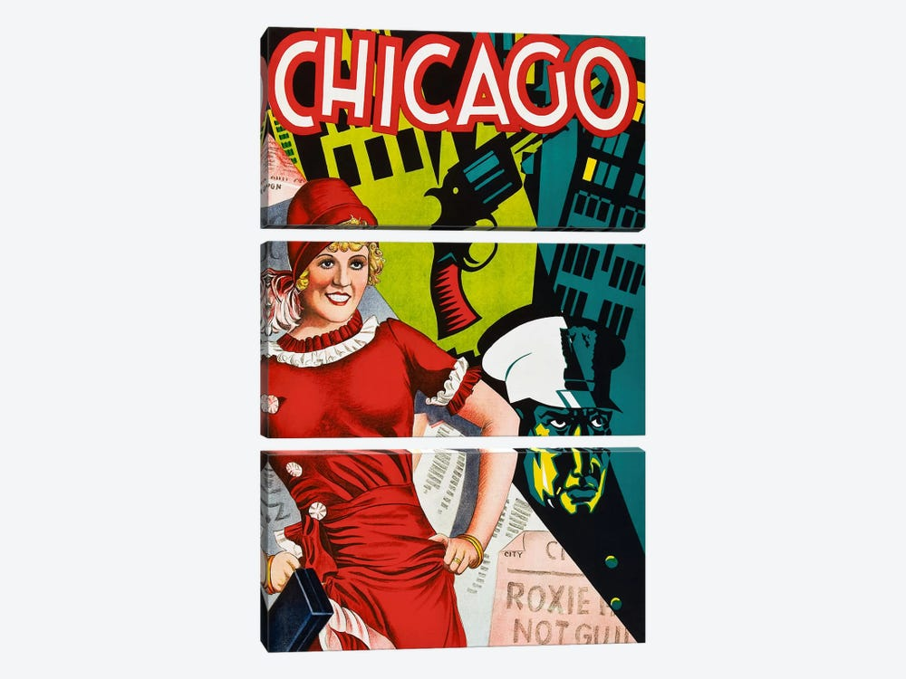 Chicago Red Dress by Vintage Apple Collection 3-piece Canvas Art Print