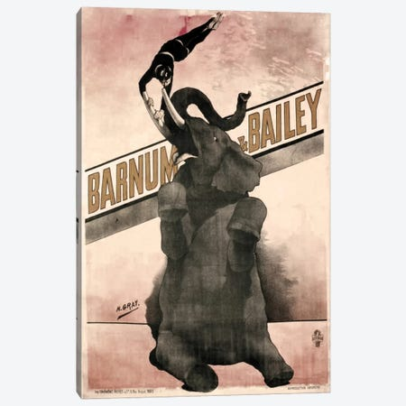 Elephant Gray Barnum & Bailey Canvas Print #VAC1080} by Vintage Apple Collection Art Print