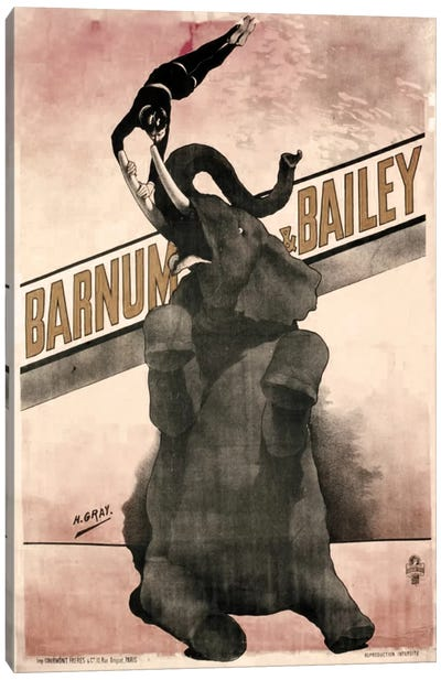 Elephant Gray Barnum & Bailey Canvas Print #VAC1080