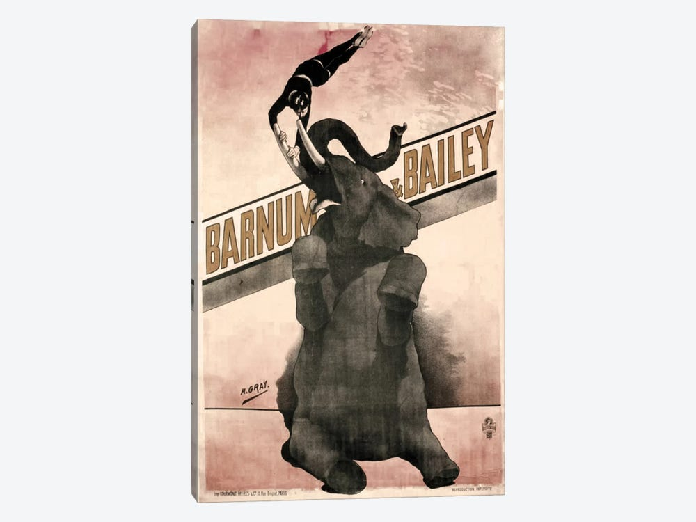 Elephant Gray Barnum & Bailey by Vintage Apple Collection 1-piece Canvas Wall Art