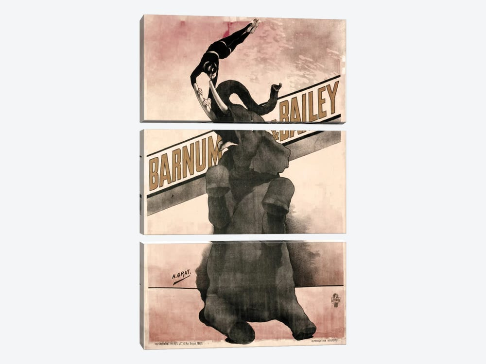 Elephant Gray Barnum & Bailey by Vintage Apple Collection 3-piece Canvas Wall Art
