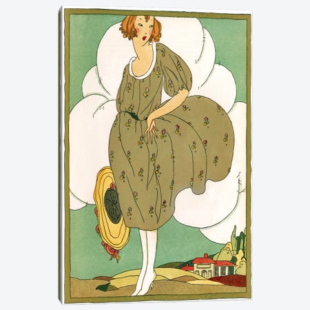 Lady In Green Canvas Print #VAC1137} by Vintage Apple Collection Canvas Art