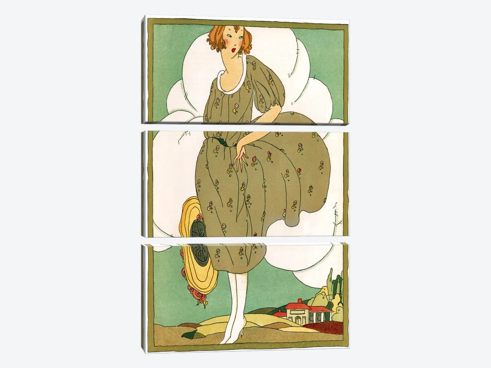 Lady In Green by Vintage Apple Collection 3-piece Art Print