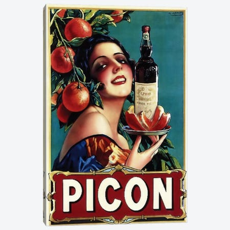 Picon Liquor Canvas Print #VAC113} by Vintage Apple Collection Art Print