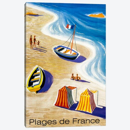 Plages De France Canvas Print #VAC1151} by Vintage Apple Collection Canvas Art Print