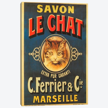 Savon Le Chat Canvas Print #VAC115} by Vintage Apple Collection Canvas Art