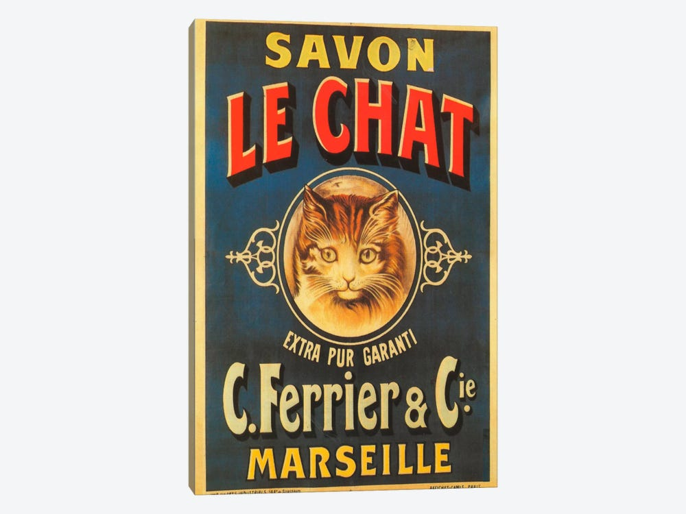 Savon Le Chat by Vintage Apple Collection 1-piece Canvas Art Print