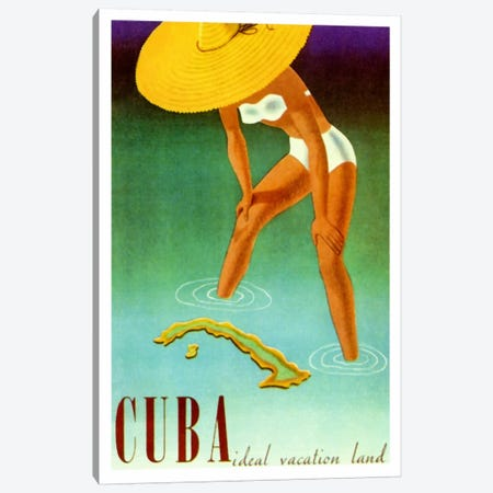Cuba Ideal Vacation Canvas Print #VAC1253} by Vintage Apple Collection Canvas Wall Art
