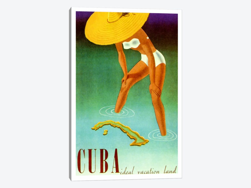 Cuba Ideal Vacation by Vintage Apple Collection 1-piece Canvas Art Print