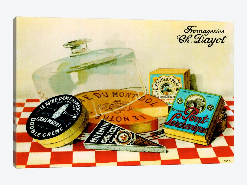Vintage Cheese - Fromage by Vintage Apple Collection 1-piece Canvas Art Print