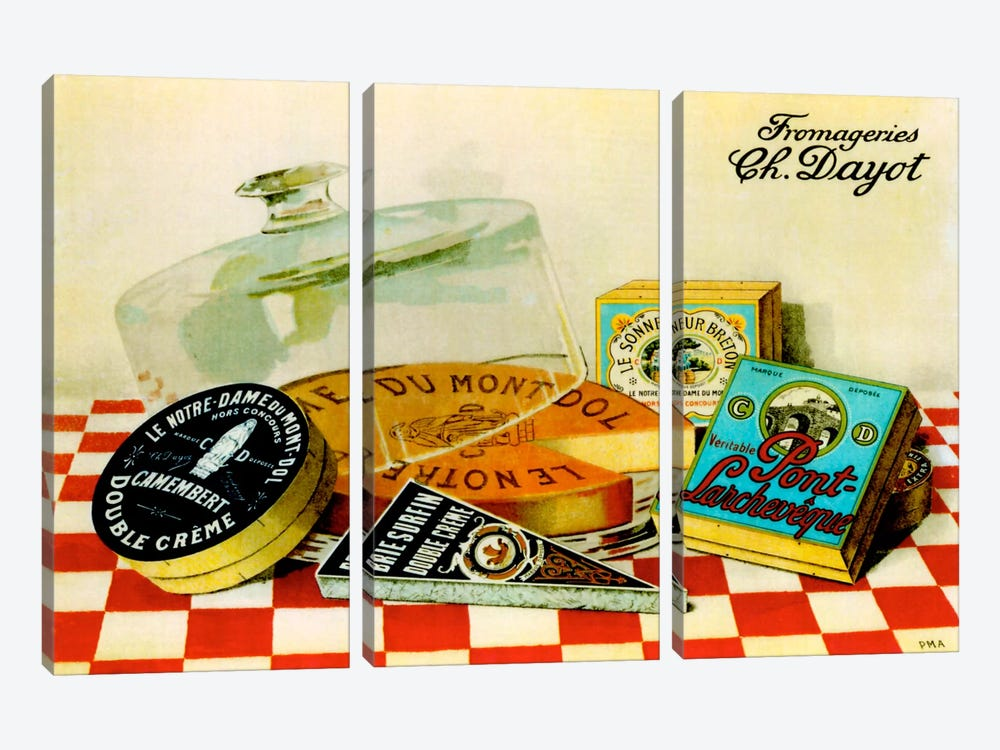 Vintage Cheese - Fromage by Vintage Apple Collection 3-piece Art Print