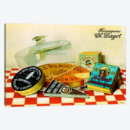 Vintage Cheese - Fromage 3-Piece Canvas #VAC126} by Vintage Apple Collection Art Print