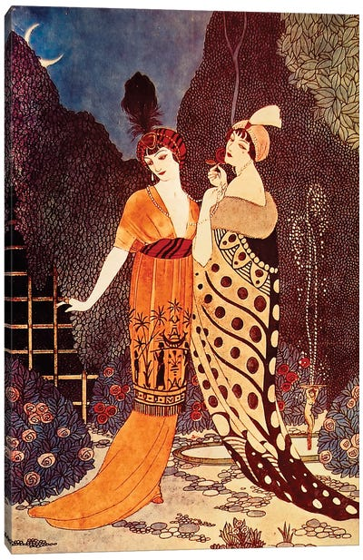 Barbier II Ladies Under The Crescent Moon Canvas Print #VAC1285