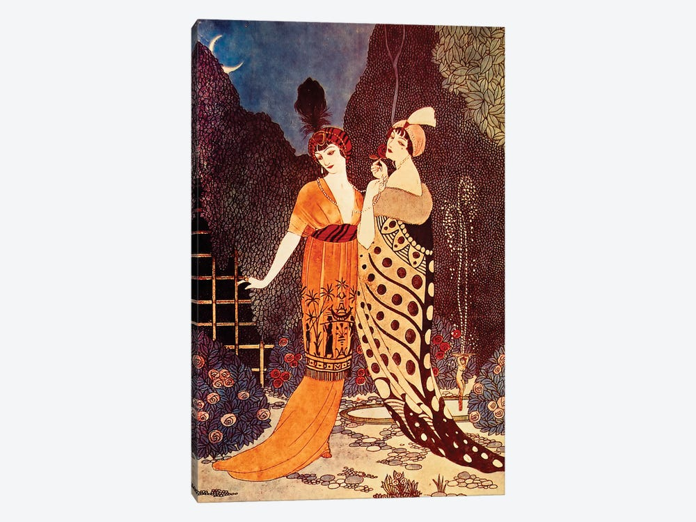 Barbier II Ladies Under The Crescent Moon by Vintage Apple Collection 1-piece Canvas Artwork