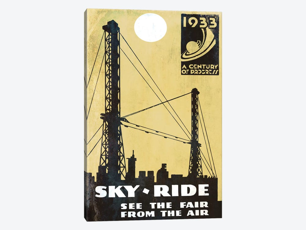 A Century Of Progress, Chicago World's Fair 1933 Sky-Ride by Vintage Apple Collection 1-piece Canvas Wall Art