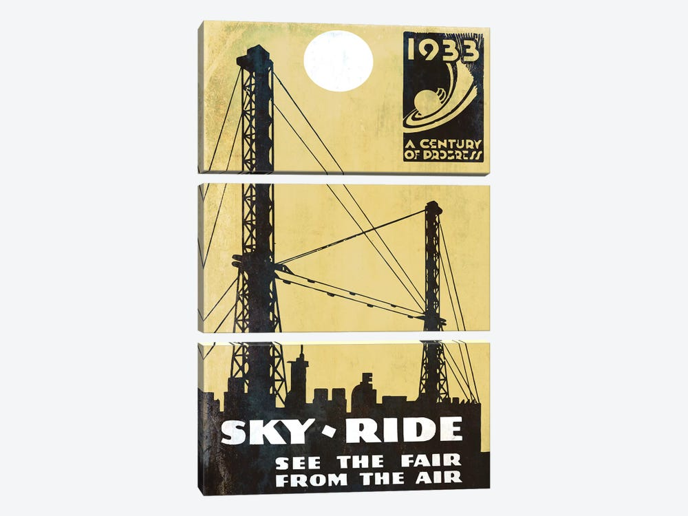 A Century Of Progress, Chicago World's Fair 1933 Sky-Ride by Vintage Apple Collection 3-piece Canvas Art