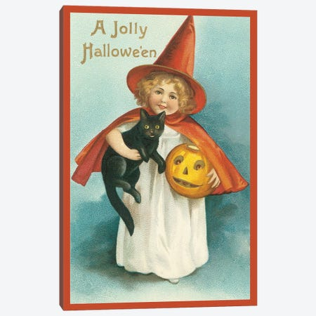 A Jolly Halloween Girl & Cat Canvas Print #VAC1293} by Vintage Apple Collection Canvas Art
